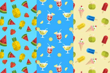 3款扁平化夏季水果和雪糕无缝背景矢量图