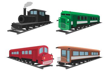 4款彩色老式火车矢量素材