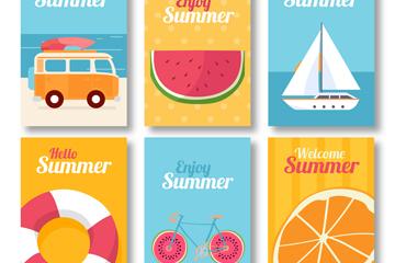 6款彩色夏季卡片矢量素材