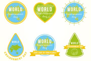 6款创意世界环境日标签矢量图