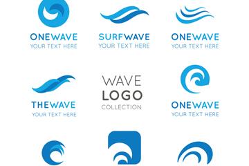 8款蓝色海浪标志矢量素材