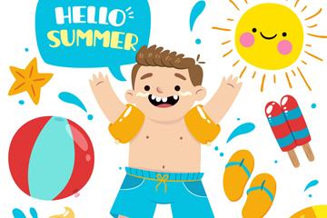 创意夏季海边玩耍的男孩乐虎国际线上娱乐图