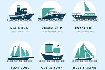 6款复古船舶标志矢量素材