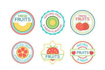 9款彩色圆形水果标签矢量图