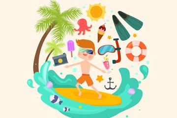 创意海上冲浪的男子和物品乐虎国际线上娱乐乐虎国际