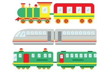 4款彩色火车设计矢量素材