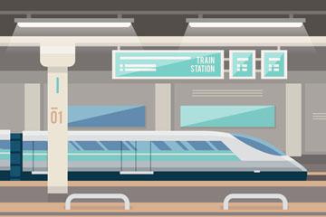 时尚火车站设计矢量素材