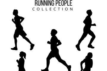 5款创意跑步人物剪影矢量素材