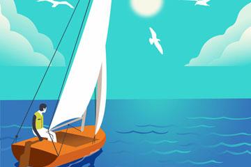 创意坐帆船出海的男子矢量素材
