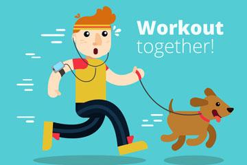 创意和宠物狗一起跑步的男子矢量