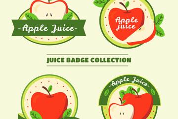 4款创意苹果汁徽章矢量图