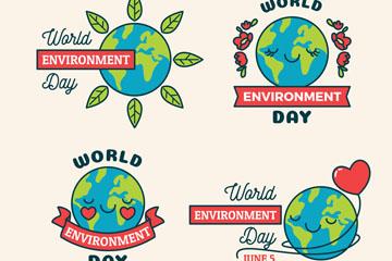 4款彩绘世界环境日地球矢量图