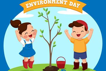 创意世界环境日植树的儿童矢量图