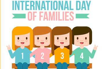 创意国际家庭日女孩矢量素材