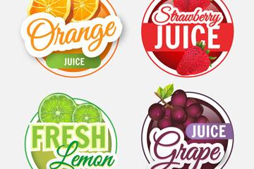 4款彩色水果果汁标签矢量图