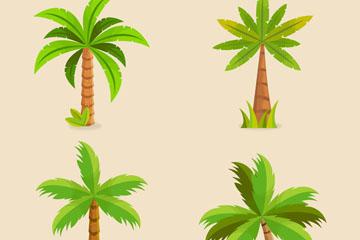 4款绿色棕榈树设计矢量图