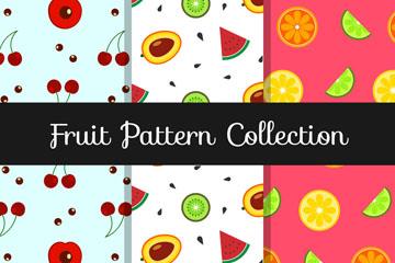 3款扁平化水果无缝背景矢量图