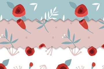 3款红色玫瑰花无缝背景矢量图