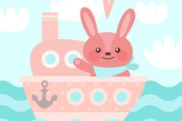 卡通坐船的兔子矢量素材