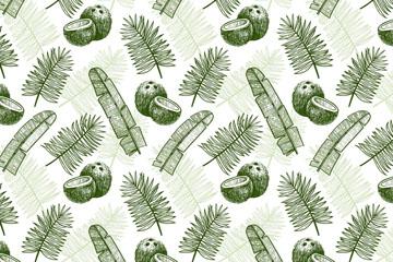 手绘棕榈树叶和椰子无缝背景矢量图