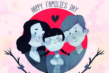 彩绘国际家庭日三口之家矢量图