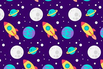 彩色太空元素无缝背景矢量图