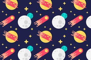 扁平化火箭和星球无缝背景矢量图