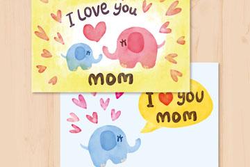 彩绘大象母亲节卡片矢量图