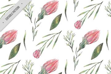 彩绘粉色花朵和叶子无缝背景矢量