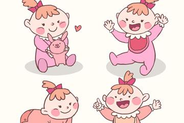 4款彩绘可爱女婴矢量素材