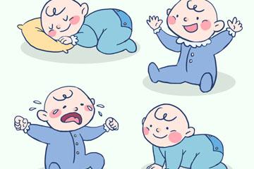 4款彩绘婴儿设计矢量素材