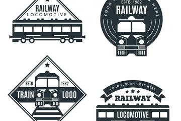 4款黑色火车标志矢量素材