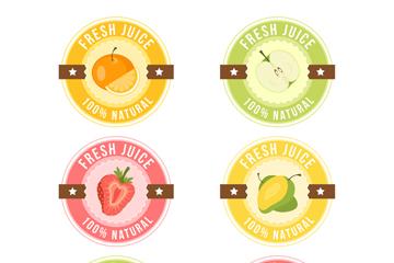 6款圆形新鲜果汁标签矢量图