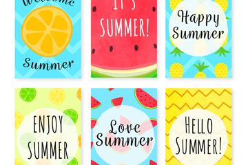 6款彩色夏季元素卡片矢量素材