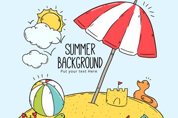 彩绘夏季度假沙滩矢量素材