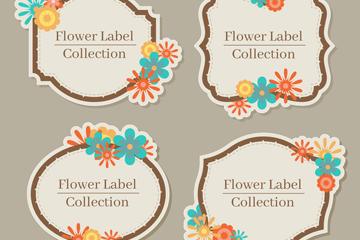 4款彩色花朵文字标签矢量素材