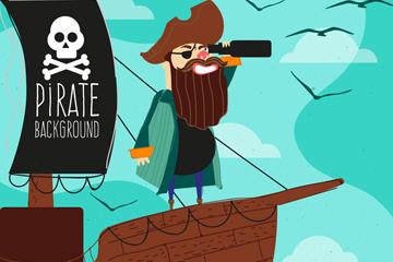 创意大海上的海盗船长矢量素材