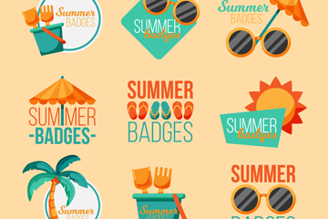 8款彩色夏季徽章矢量素材