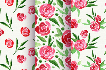 3款水彩绘玫瑰花无缝背景矢量图