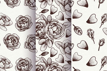 3款手绘无色玫瑰花无缝背景矢量图