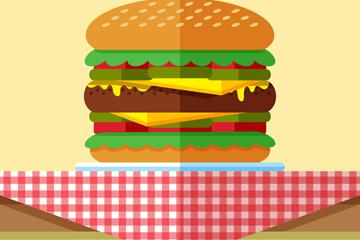 创意餐桌上的汉堡包矢量素材