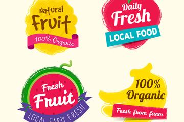 4款水彩绘有机水果标签矢量图