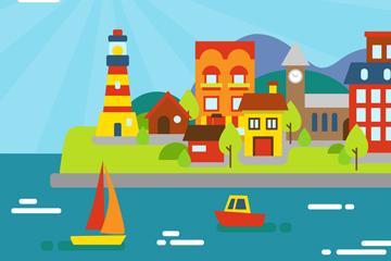 彩色海边城市风景矢量素材