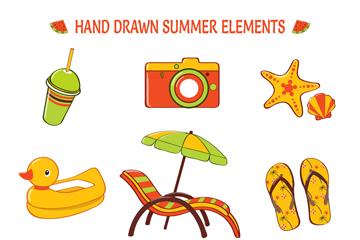 9款手绘夏季元素矢量素材