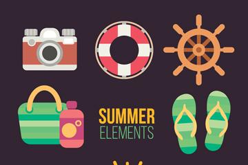 8款彩色夏季元素矢量素材