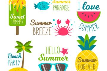 7款彩色夏季元素标签矢量图