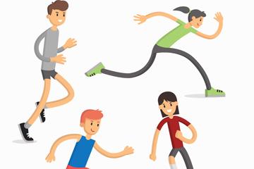 4款卡通跑步人物设计矢量素材