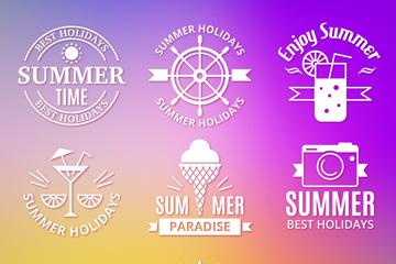 9款精致夏季元素标志矢量素材