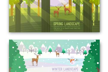 2款创意春季和冬季风景banner矢量图