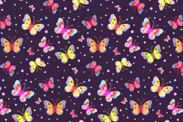 彩色春季蝴蝶无缝背景矢量图